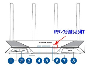 RT-AC87UのWPS設定開始ランプ