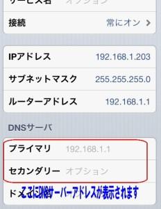 Airmacスマホ版DNSサーバー確認