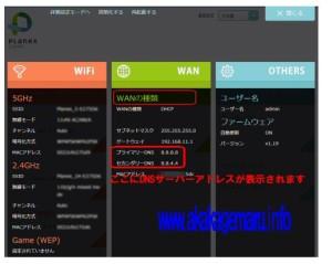 2013年以降販売のプラネックスルータのステータス画面